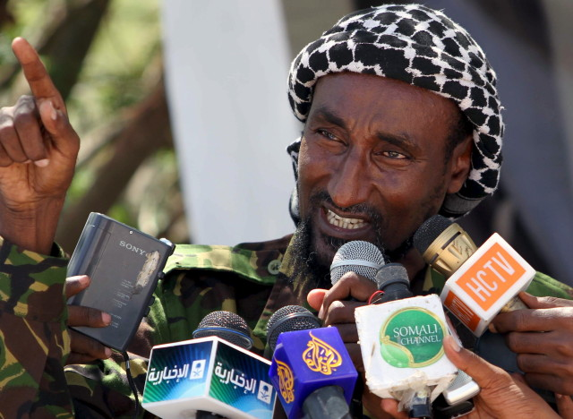 senior Al Shabaab commander Mohamed Mohamud addressing a news conference in Mogadishu